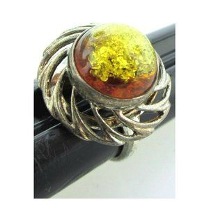 Art Nouveau Sterling Amber  Ring Size 6